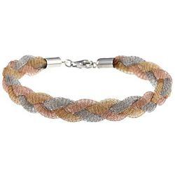 Lady's Tri Color Sterling Silver Mesh Bracelet