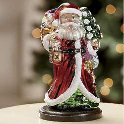 Handblown Glass Musical Santa Ornament