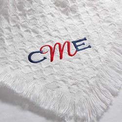 White My Monogram Embroidered Baby Blanket