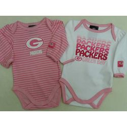 Green Bay Packers Pink Long Sleeve Bodysuits