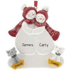 Personalized Snow Couple with Two Cats Christmas Ornament