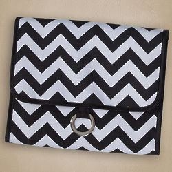 Hanging Travel Black and White Chevron Cosmetic Bag
