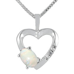 Opal and Diamond Heart Pendant in 10kt White Gold