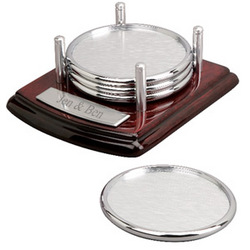 Silver Coaster Set with Mahogany Wood Base