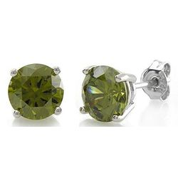 Sterling Silver Round Peridot CZ Solitaire Earrings