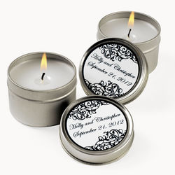 Personalized Black and White Candle Tin Favors