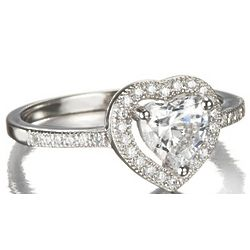 Pave Set Cubic Zirconia Heart Promise Ring in Sterling Silver