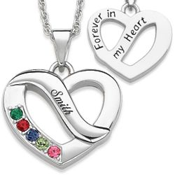 Family Name and Five Birthstone Heart Necklace