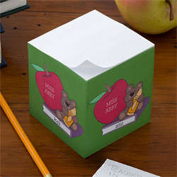 Teacher's Teddy Bear Personalized Note Paper Cube