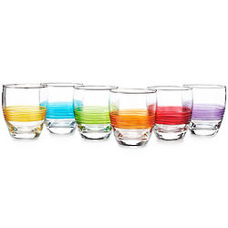 Double Old Fashioned Rainbow Colored Glass Set