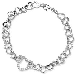 Interlocking Sterling Silver and Cubic Zirconia Hearts Bracelet