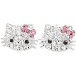 Crystal Kitty Earrings with Pink Bow