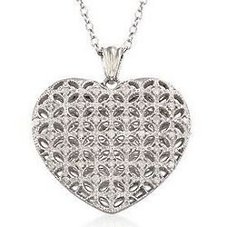Diamond Puffed Heart Pendant Sterling Silver Necklace