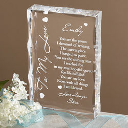 To My Love Personalized Lucite Plaque