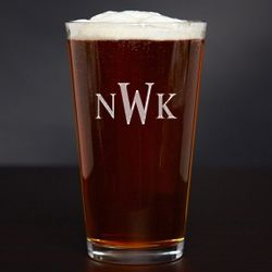 Etched Monogram American Pint Glass