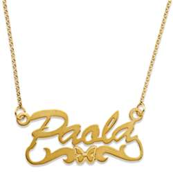 Gold Over Sterling Name Necklace with Butterfly Tail