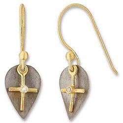 Diamond Dangle Cross Earrings