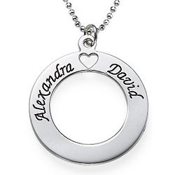 Personalized Circle of Love Necklace in Sterling Silver