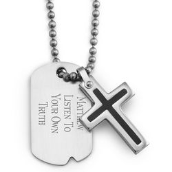 Boy's Dog Tag and Cross Necklace