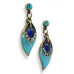 Enamel and Crystal Peacock Feather Earrings