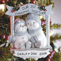 Personalized Snowbuddies Our First Christmas Ornament