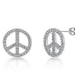1ct CZ Sterling Silver Peace Sign Post Earrings