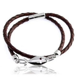Sterling Silver and Braided Leather Karma Cut Out Bracelet