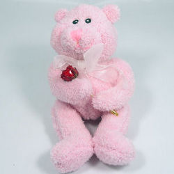 Pink Bear with Preserved Mini Rose