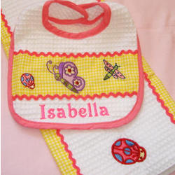Personalized Baby Girl Bib Set