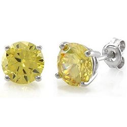 Sterling Silver Citrine CZ Solitaire Earrings