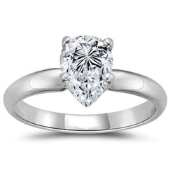 18K White Gold Pear Cut Diamond Engagement Ring