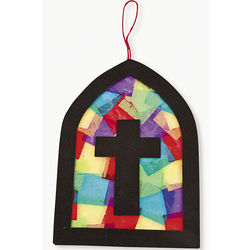 Cross Stained Glass Window Tissue Paper Craft Kit