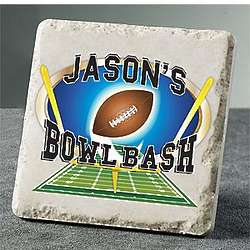 Personalized Football Party Marble Coasters