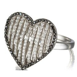 White and Black Micro Pave Heart Ring in Sterling Silver