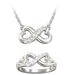 Daughter, Forever In My Heart Diamond Necklace and Ring