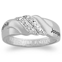 Sterling Silver Diamond Swirl Couple's Name Engraved Band