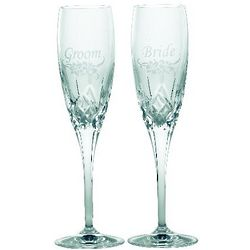 Galway Crystal Bride and Groom Toasting Glasses