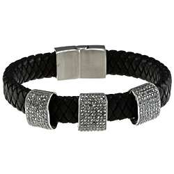 Mens Gray Crystal Black Leather Bracelet