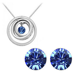 Blue Swarovski Elements Necklace and Earrings Set