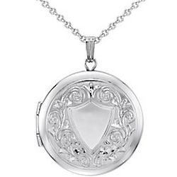 Sterling Silver Crest Locket Pendant