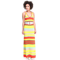 Pinstriped Belted Maxi Dress