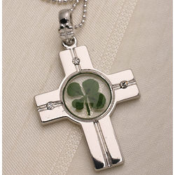 Four Leaf Clover and Cross Necklace