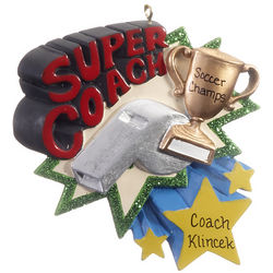 Personalized Super Coach Christmas Ornament
