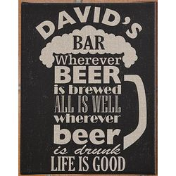Personalized Life Is Good Beer Shaped Canvas Bar Sign