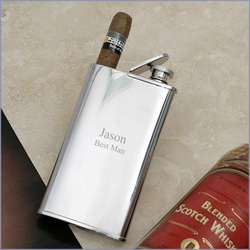 Personalized Double Cigar Holder and Stainless Steel Flask