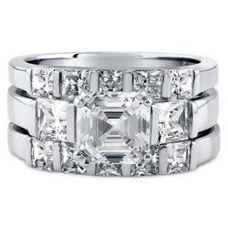 Brilliant 3 CZ Stone Sterling Silver Ring Set