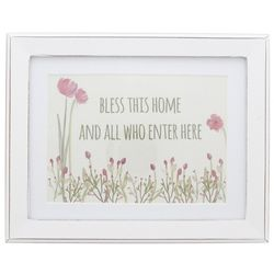 Bless This Home and All Who Enter Here Framed Floral Print
