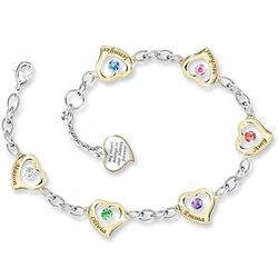 Forever In A Mother's Heart Birthstone Engraved Hearts Bracelet