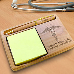 Personalized Doctor Wooden Notepad & Pen Holder
