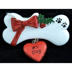 #1 Dog Bone Personalized Christmas Ornament